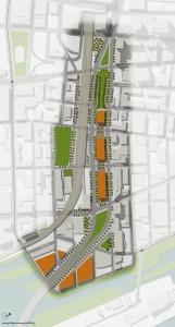 Exemple d'aménagement autour du futur  boulevard urbain  Bonaventure