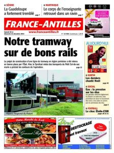 Couverture de la Une du journal France-Antilles Guadeloupe de septembre 2013