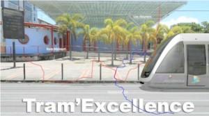 Image numérique du futur tramway de la communauté d'agglomération Cap Excellence (Guadeloupe)