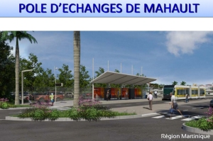 Vue du futur pôle d'échanges de Mahault (Le Lamentin) avec le terminus de la ligne 1 du futur TCSP et le parking-relais