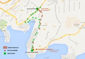 Plan de la déviation autour de l'avenue Victor Lambion (Fort-de-France, Martinique)