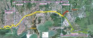 Vue aérienne du tracé du futur TCSP de la Martinique