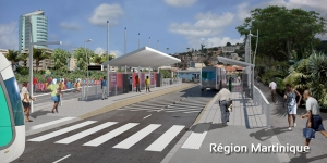 Une des futures stations du TCSP au centre-ville de Fort-de-France (Martinique)