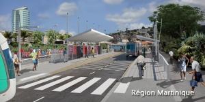 Une des futures stations du TCSP au centre-ville de Fort-de-France (Martinique)