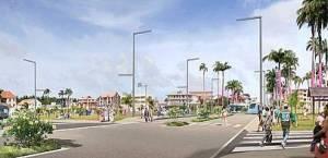 Représentation numérique du futur TCSP de l'agglomération de Cayenne sur une grande artère de la capitale guyanaise