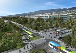 Représentation numérique du passage du tram-train à Saint-Denis (Réunion)