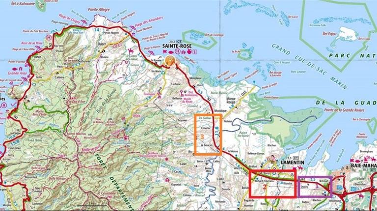 Carte routière Nord Basse-Terre