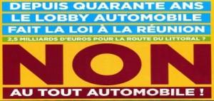 Affiche de lutte contre la dépendance à l'automobile sur l'île de la Réunion